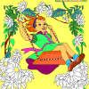 Fericită fată de colorat pentru copii joc