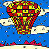 Red flying balloon coloring joc